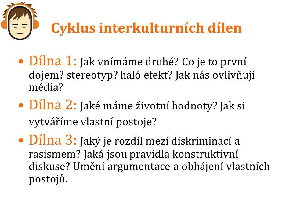 Cyklus interkulturních dílen Dílna 1: Jak vnímáme druhé? Co je to první dojem? stereotyp? haló efekt? Jak nás ovlivňují média? Dílna 2: Jaké máme živo