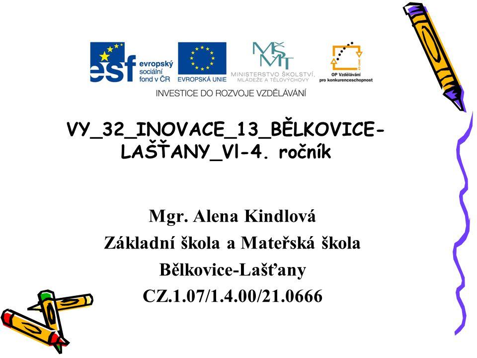 VY_32_INOVACE_13_BĚLKOVICE- LAŠŤANY_Vl-4. ročník Mgr. Alena Kindlová Základní škola a Mateřská škola Bělkovice-Lašťany CZ.1.07/1.4.00/21.0666