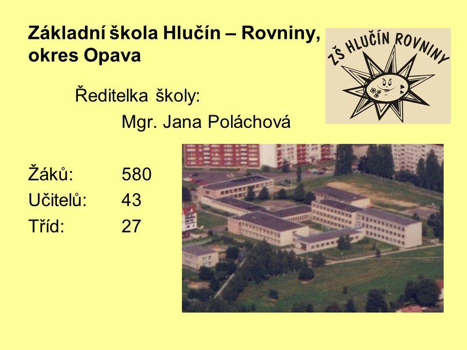 Základní škola Hlučín – Rovniny, okres Opava Ředitelka školy: Mgr. Jana Poláchová Žáků:580 Učitelů:43 Tříd:27