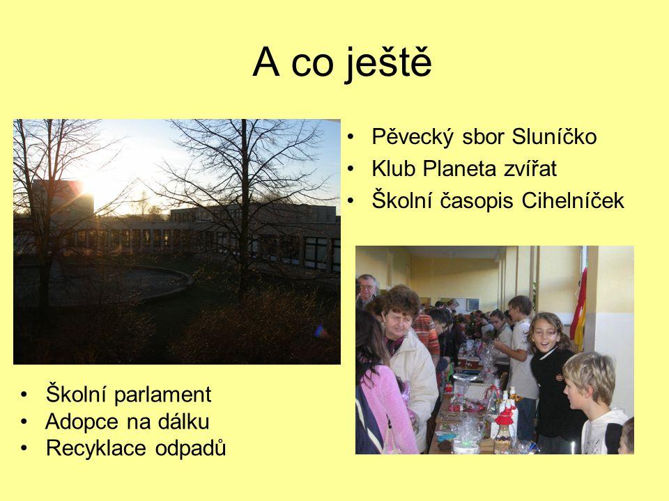 A co ještě Pěvecký sbor Sluníčko Klub Planeta zvířat Školní časopis Cihelníček Školní parlament Adopce na dálku Recyklace odpadů