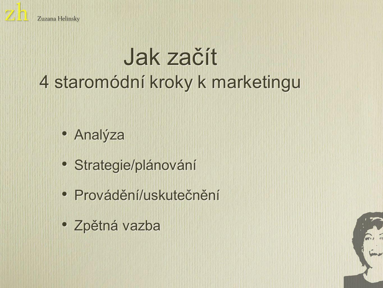 Analýza Strategie/plánování Provádění/uskutečnění Zpětná vazba Analýza Strategie/plánování Provádění/uskutečnění Zpětná vazba Jak začít 4 staromódní kroky k marketingu