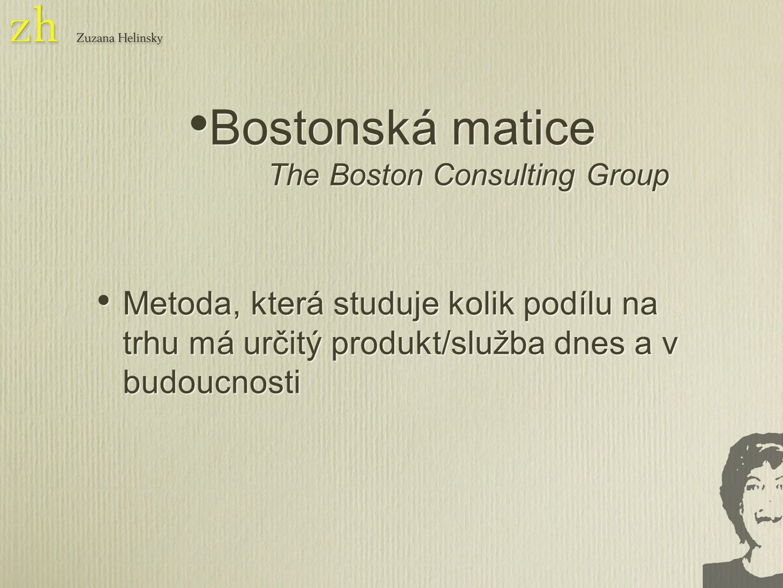 Metoda, která studuje kolik podílu na trhu má určitý produkt/služba dnes a v budoucnosti Bostonská matice The Boston Consulting Group