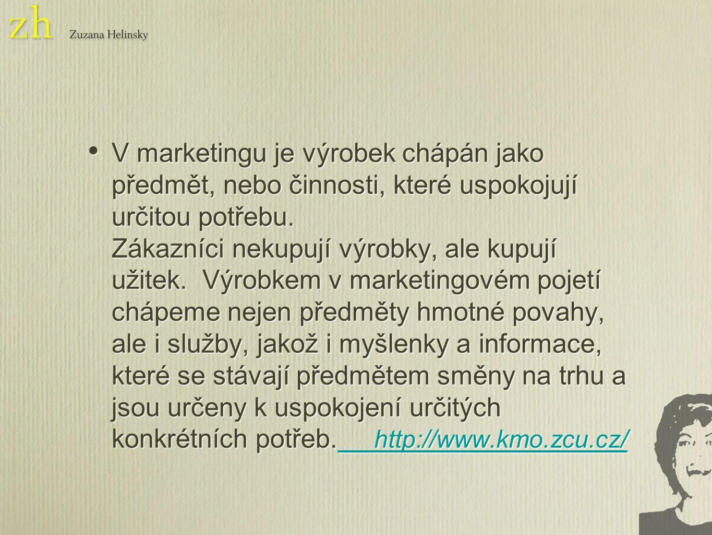 V marketingu je výrobek chápán jako předmět, nebo činnosti, které uspokojují určitou potřebu.