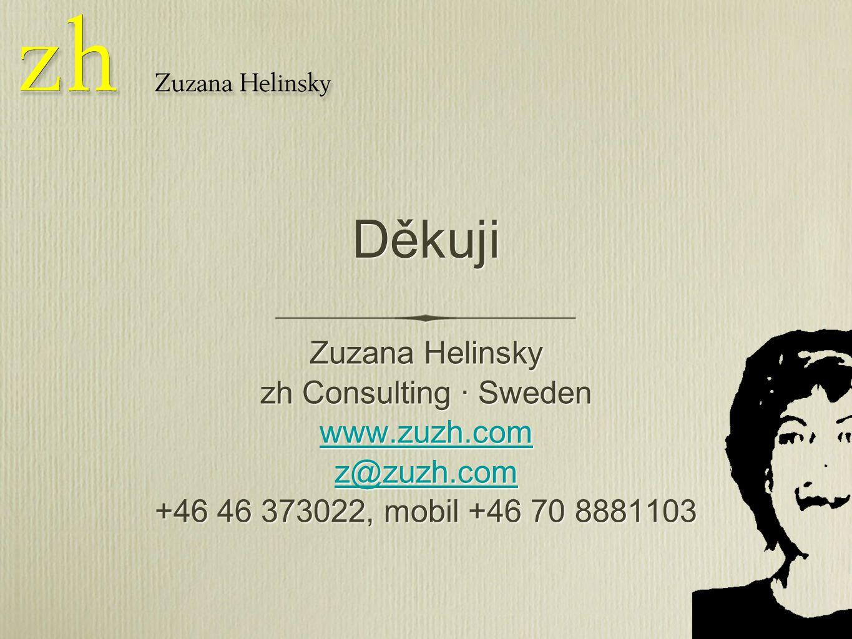 Děkuji Zuzana Helinsky zh Consulting · Sweden www.zuzh.com z@zuzh.com +46 46 373022, mobil +46 70 8881103 Zuzana Helinsky zh Consulting · Sweden www.zuzh.com z@zuzh.com +46 46 373022, mobil +46 70 8881103