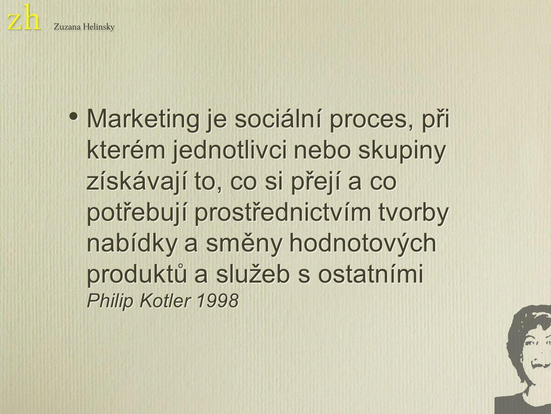 Marketing je sociální proces, při kterém jednotlivci nebo skupiny získávají to, co si přejí a co potřebují prostřednictvím tvorby nabídky a směny hodnotových produktů a služeb s ostatními Philip Kotler 1998