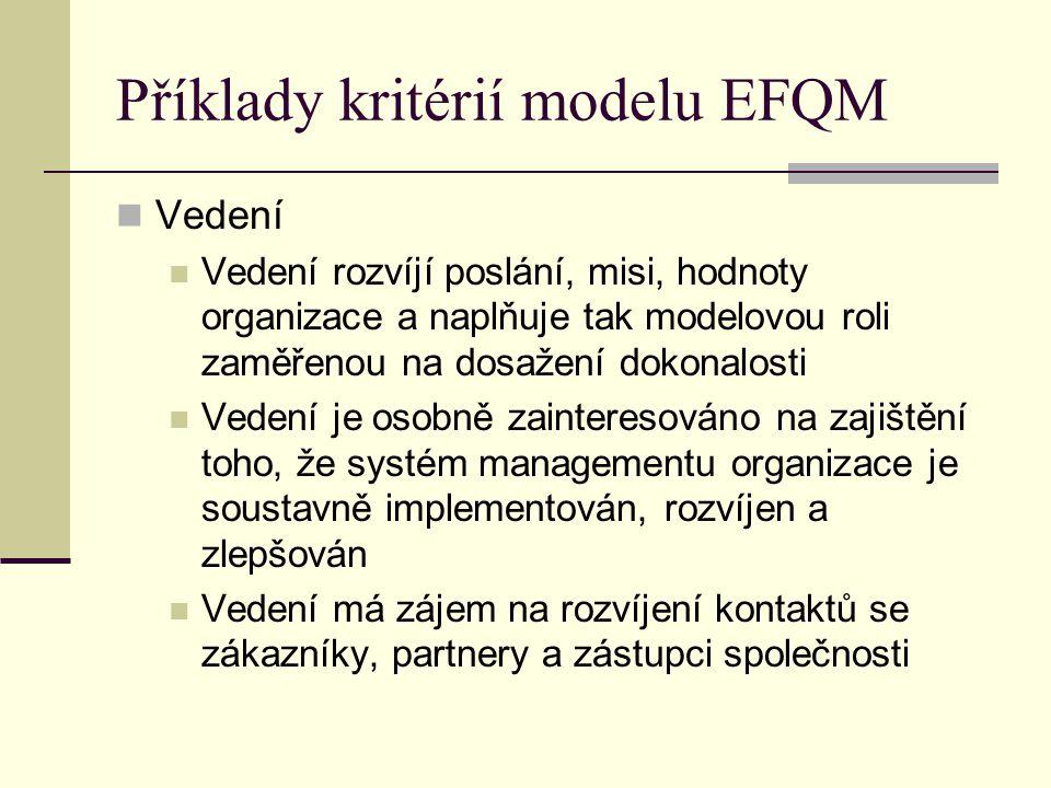 Příklady kritérií modelu EFQM Vedení Vedení rozvíjí poslání, misi, hodnoty organizace a naplňuje tak modelovou roli zaměřenou na dosažení dokonalosti