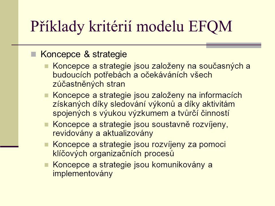 Příklady kritérií modelu EFQM Koncepce & strategie Koncepce a strategie jsou založeny na současných a budoucích potřebách a očekáváních všech zúčastně