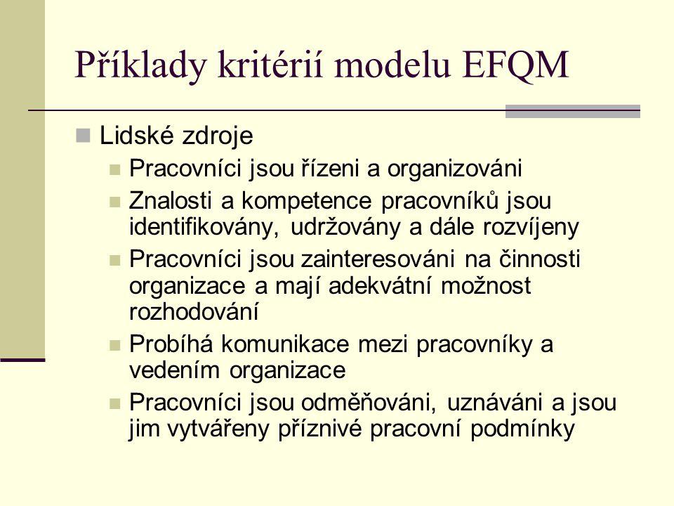 Příklady kritérií modelu EFQM Lidské zdroje Pracovníci jsou řízeni a organizováni Znalosti a kompetence pracovníků jsou identifikovány, udržovány a dá