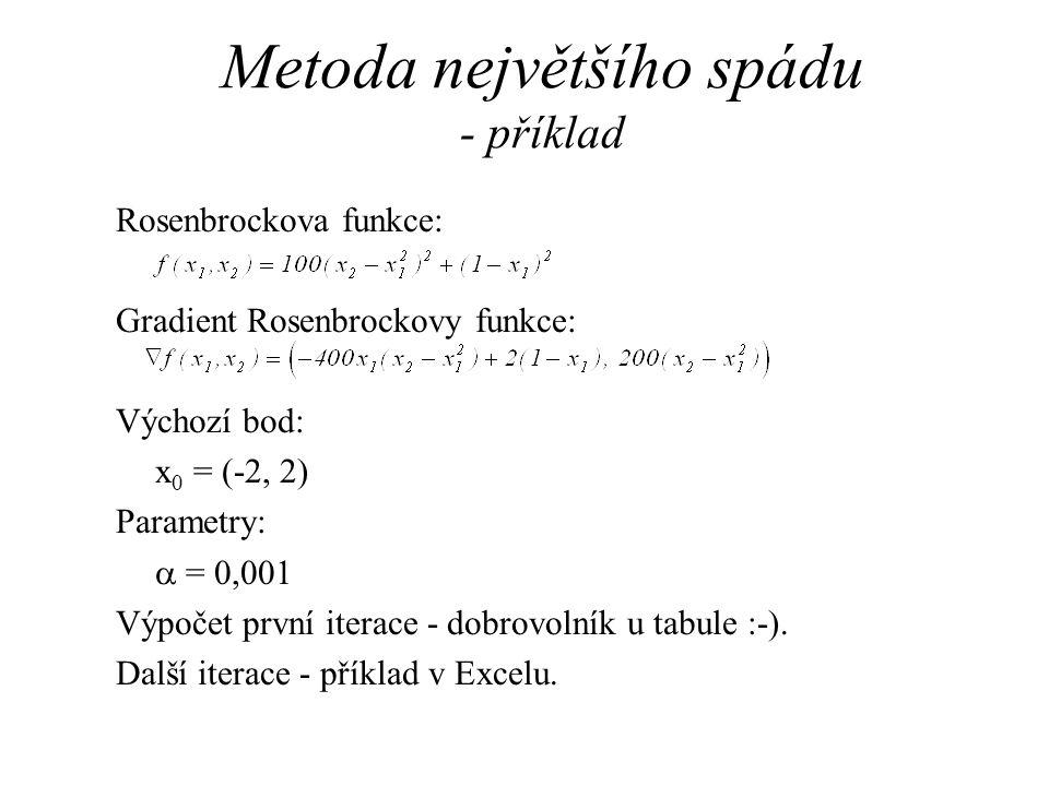 Metoda největšího spádu - příklad Rosenbrockova funkce: Gradient Rosenbrockovy funkce: Výchozí bod: x 0 = (-2, 2) Parametry:  = 0,001 Výpočet první