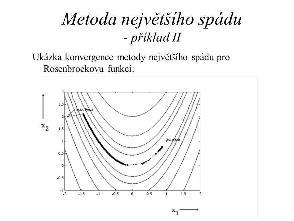 Metoda největšího spádu - příklad II Ukázka konvergence metody největšího spádu pro Rosenbrockovu funkci: