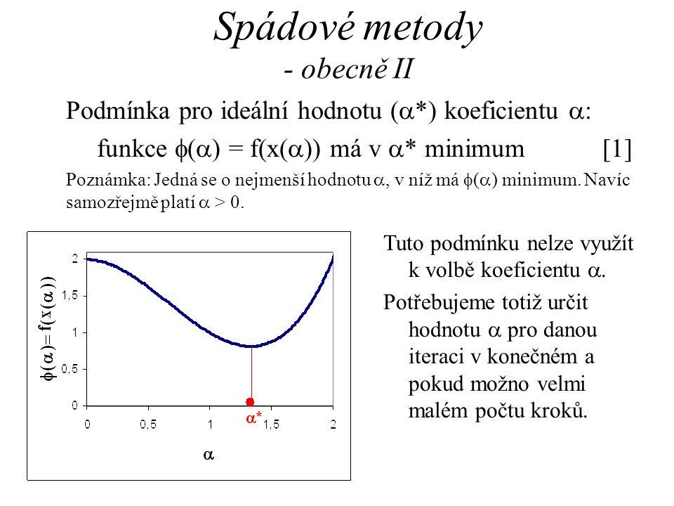 Spádové metody - obecně II Podmínka pro ideální hodnotu (  *) koeficientu  : funkce  (  ) = f(x(  )) má v  * minimum[1] Poznámka: Jedná se o nej