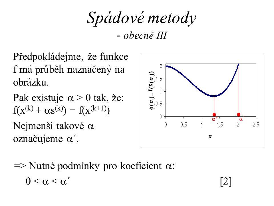 Spádové metody - obecně III => Nutné podmínky pro koeficient  : 0 <  <  ´[2] Předpokládejme, že funkce f má průběh naznačený na obrázku. Pak existu