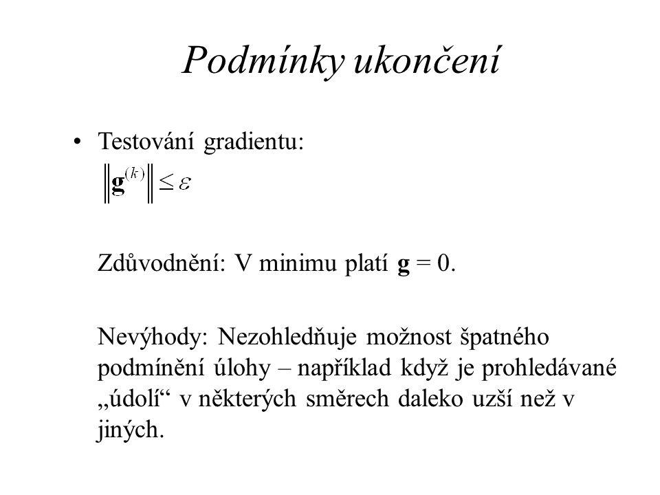 Podmínky ukončení Testování gradientu: Zdůvodnění: V minimu platí g = 0. Nevýhody: Nezohledňuje možnost špatného podmínění úlohy – například když je p