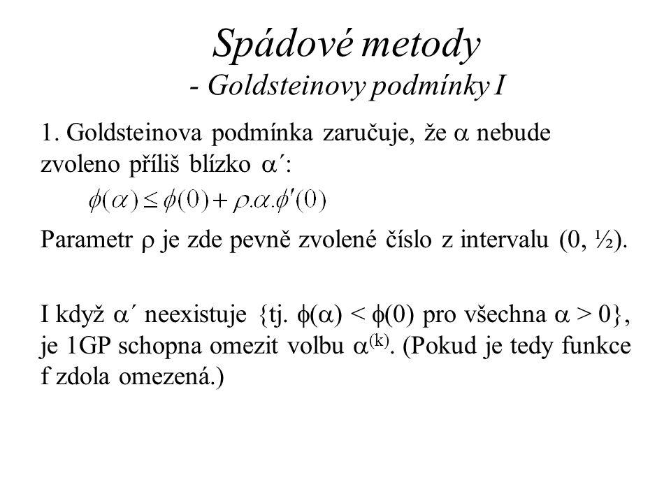 Spádové metody - Goldsteinovy podmínky I 1. Goldsteinova podmínka zaručuje, že  nebude zvoleno příliš blízko  ´: Parametr  je zde pevně zvolené čís