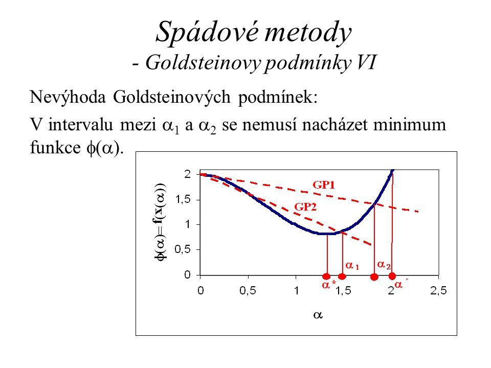 Spádové metody - Goldsteinovy podmínky VI Nevýhoda Goldsteinových podmínek: V intervalu mezi  1 a  2 se nemusí nacházet minimum funkce  (  ).