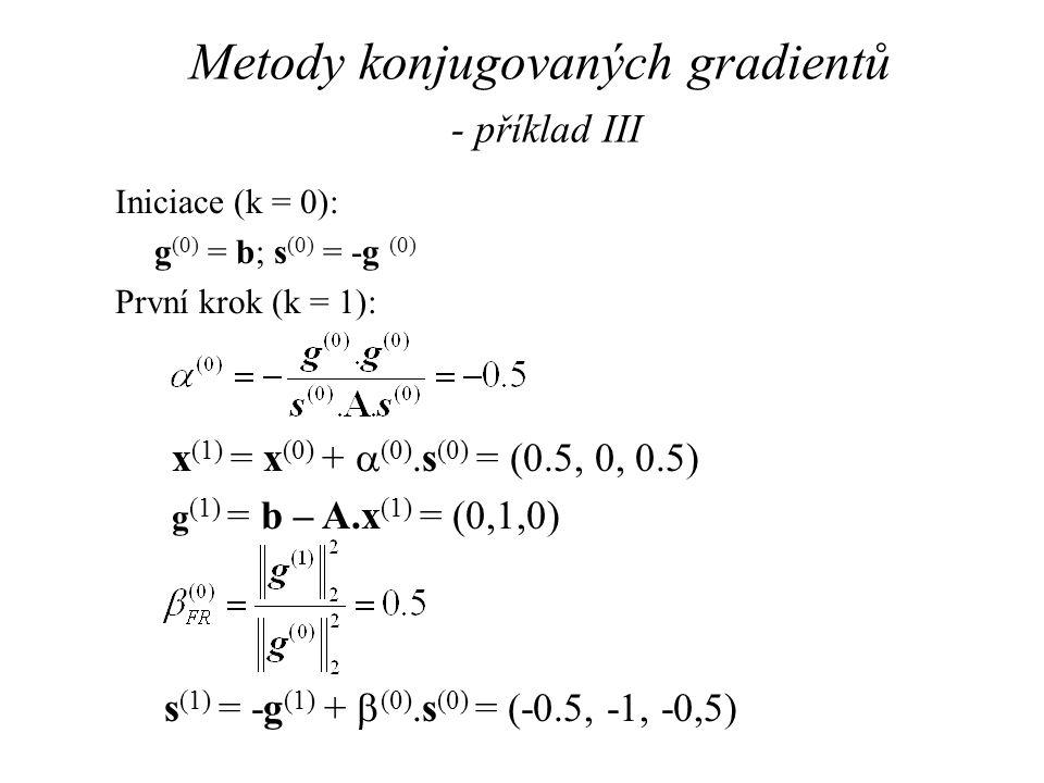 Metody konjugovaných gradientů - příklad III Iniciace (k = 0): g (0) = b; s (0) = -g (0) První krok (k = 1): x (1) = x (0) +  (0).s (0) = (0.5, 0, 0.