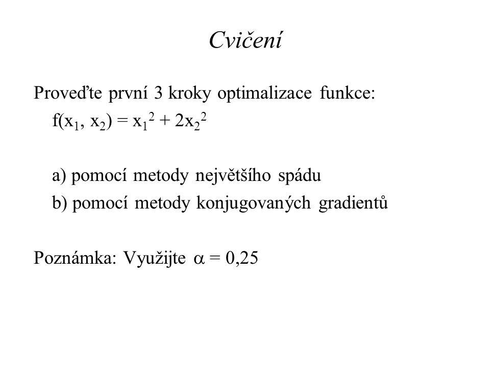 Cvičení Proveďte první 3 kroky optimalizace funkce: f(x 1, x 2 ) = x 1 2 + 2x 2 2 a) pomocí metody největšího spádu b) pomocí metody konjugovaných gra