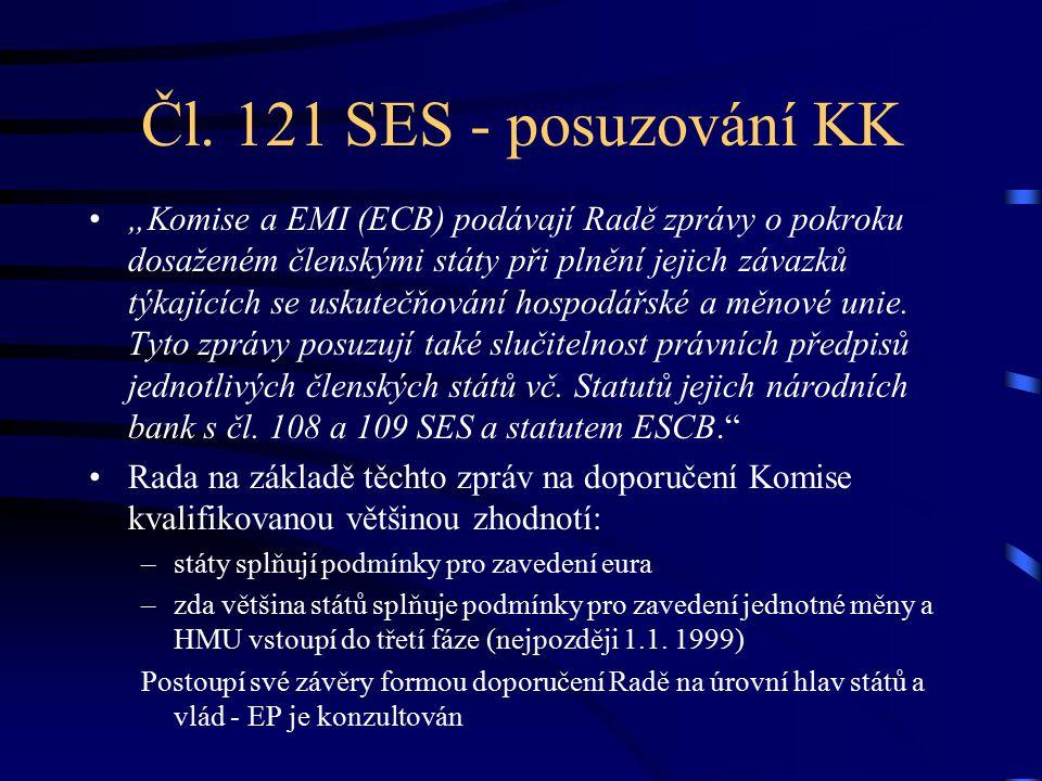 """Čl. 121 SES - posuzování KK """"Komise a EMI (ECB) podávají Radě zprávy o pokroku dosaženém členskými státy při plnění jejich závazků týkajících se uskut"""