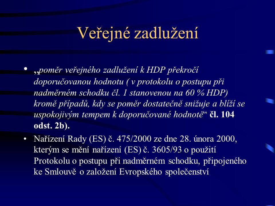 """Veřejné zadlužení """" poměr veřejného zadlužení k HDP překročí doporučovanou hodnotu ( v protokolu o postupu při nadměrném schodku čl."""