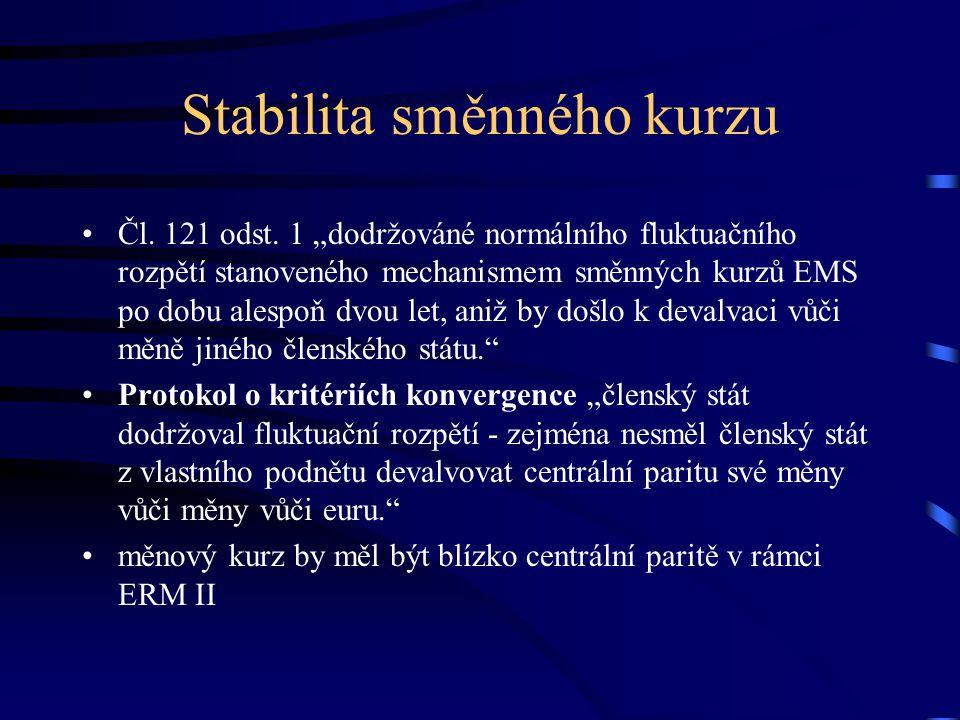Další konvergenční kritéria Institucionální připravenost čl.