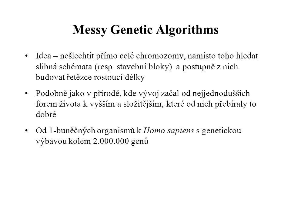 Messy Genetic Algorithms Idea – nešlechtit přímo celé chromozomy, namísto toho hledat slibná schémata (resp.