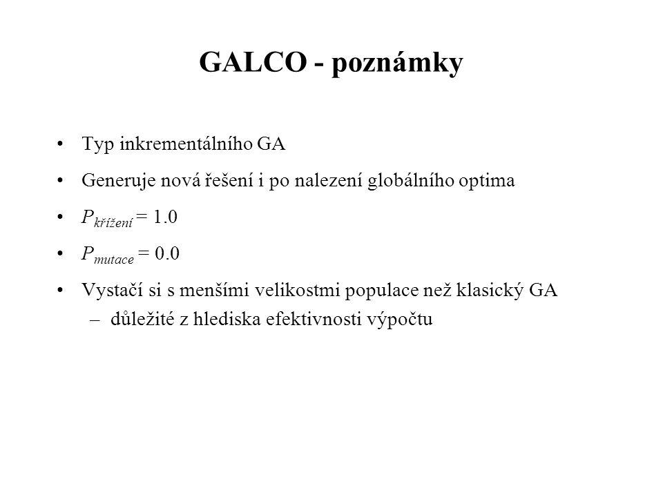 GALCO - poznámky Typ inkrementálního GA Generuje nová řešení i po nalezení globálního optima P křížení = 1.0 P mutace = 0.0 Vystačí si s menšími velikostmi populace než klasický GA –důležité z hlediska efektivnosti výpočtu