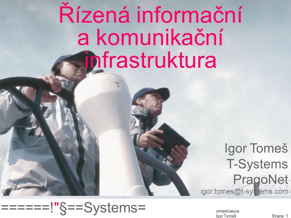 ======! §==Systems= Řízená informační a komunikační infrastruktura Igor Tomeš Strana: 1 Řízená informační a komunikační infrastruktura Igor Tomeš T-Systems PragoNet igor.tomes@t-systems.com