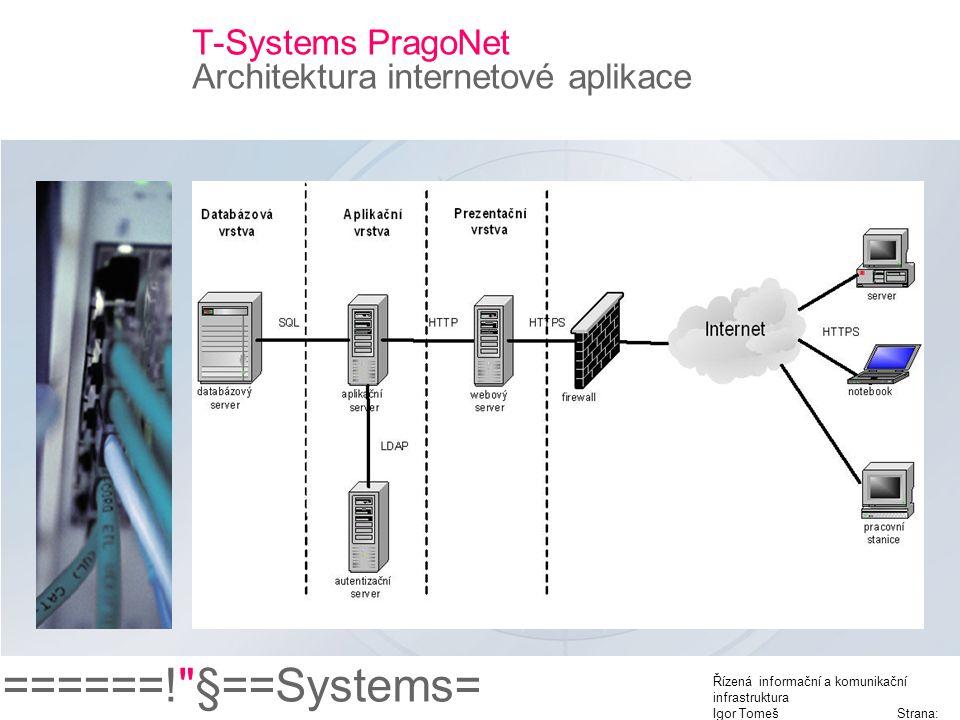 ======! §==Systems= Řízená informační a komunikační infrastruktura Igor Tomeš Strana: 10 T-Systems PragoNet Architektura internetové aplikace