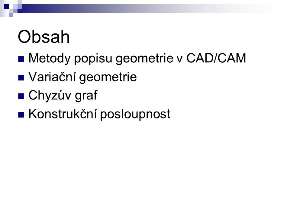 Obsah Metody popisu geometrie v CAD/CAM Variační geometrie Chyzův graf Konstrukční posloupnost