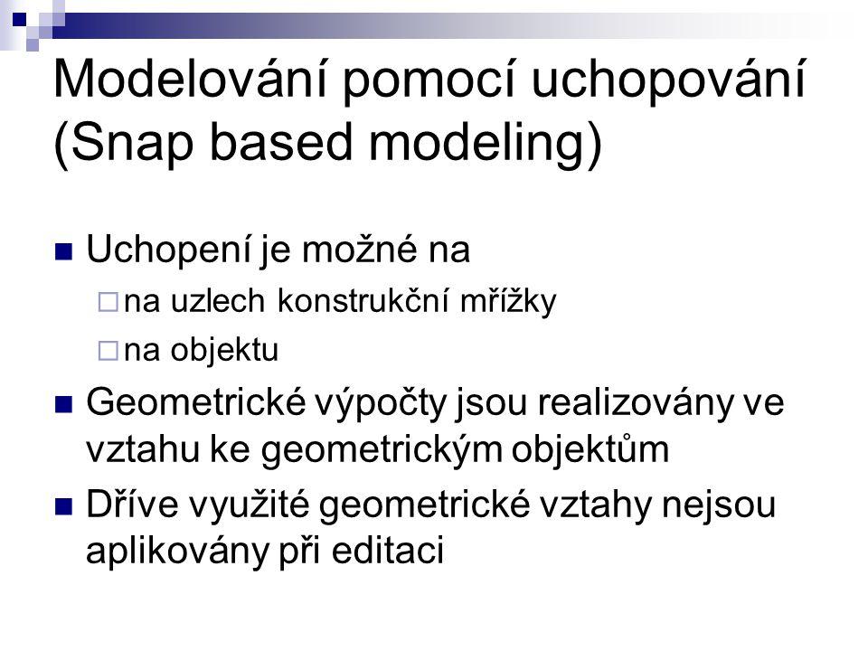 Modelování pomocí uchopování (Snap based modeling) Uchopení je možné na  na uzlech konstrukční mřížky  na objektu Geometrické výpočty jsou realizovány ve vztahu ke geometrickým objektům Dříve využité geometrické vztahy nejsou aplikovány při editaci