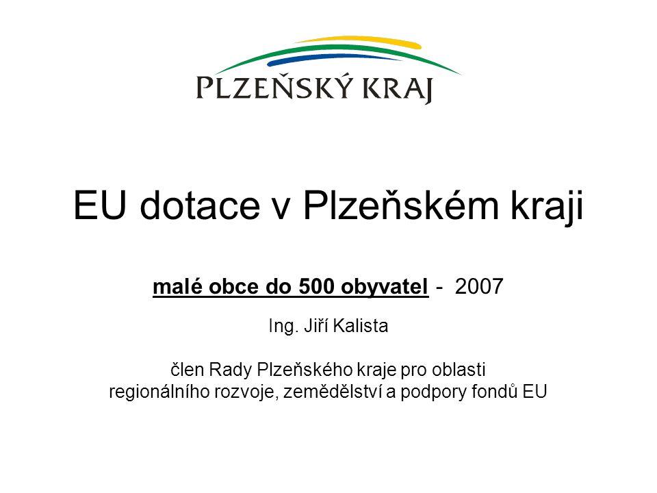 Ing. Jiří Kalista člen Rady Plzeňského kraje pro oblasti regionálního rozvoje, zemědělství a podpory fondů EU EU dotace v Plzeňském kraji malé obce do
