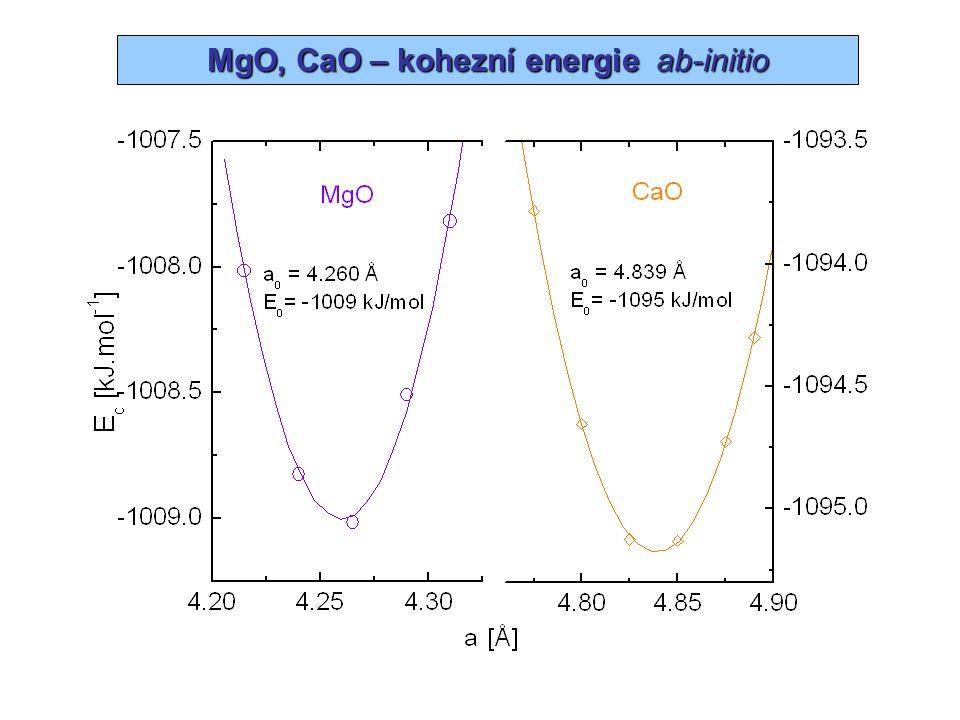 Oxidy kovů alk. zemin –  f H°  f H°  E tot (AO) – E tot (A) – ½E tot (O 2 )