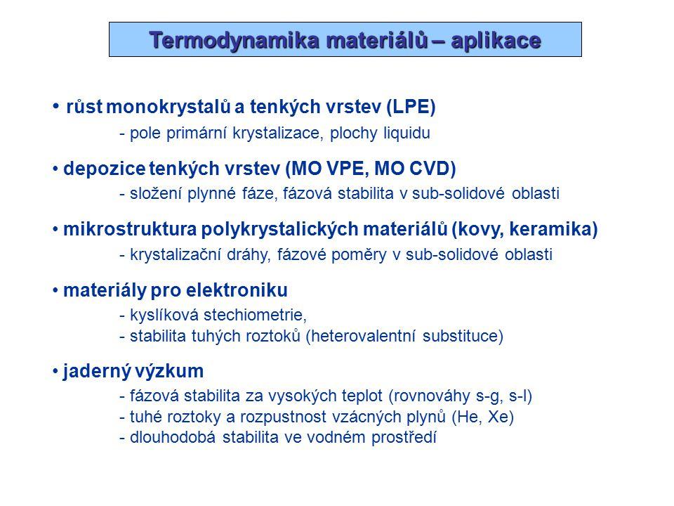 Termodynamická data materiálů Tepelná kapacita – C p (T), T = 298 K … T t - DSC, relativní entalpie (vhazovací kalorimetrie) - odhady (Neumann-Kopp), semiempirické aproximace (Debye-Einstein) - ab-initio výpočet v rámci harmonické aproximace Slučovací entalpie –  f H° 298 K - kalorimetrie (rozpouštěcí, fázové transformace) - vysokoteplotní rovnovážná data (2.