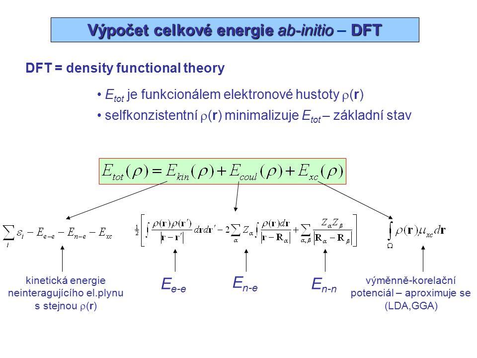 Wien2k - metoda LAPW (APW+lo) Wien2k báze: LAPW nebo APW +lo (zvýšené rovinné vlny + lokální orbitaly) E xc : GGA nebo LDA (general gradient, local density) všechny elektrony, úplný potenciál Struktura (grupa symetrie, mříž.