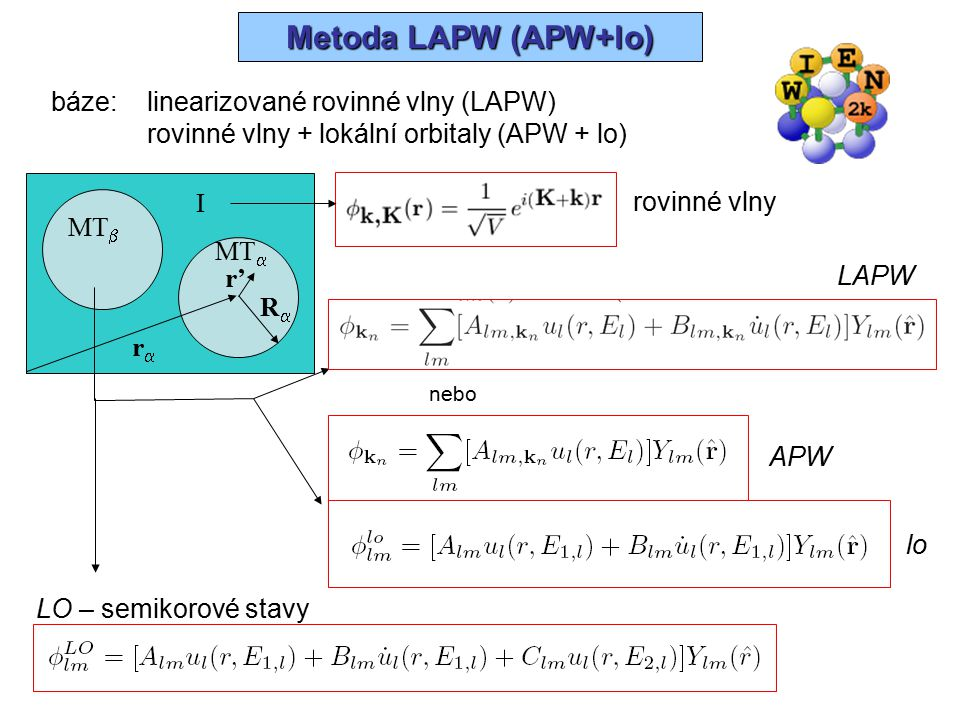 Výpočet E C ab-initio Wien2k Výpočet E C ab-initio – Wien2k NN Test překryvu MT SGROUPSYMMETRY LSTART H  nl = E nl  nl KGEN LAPW0  2 V c = -8  V xc DSTART  V=V c +V xc V LAPW1 [  2 +V]  k = E k  k EkEk kk LAPW2  val =  k  k *  k, E F  val LAPWSO LCORE H  nl = E nl  nl MIXER  new =  old (  val +  cor )  old  new konvergence stop  core ORB LDA+U LAPWDM Matice hustoty V MT