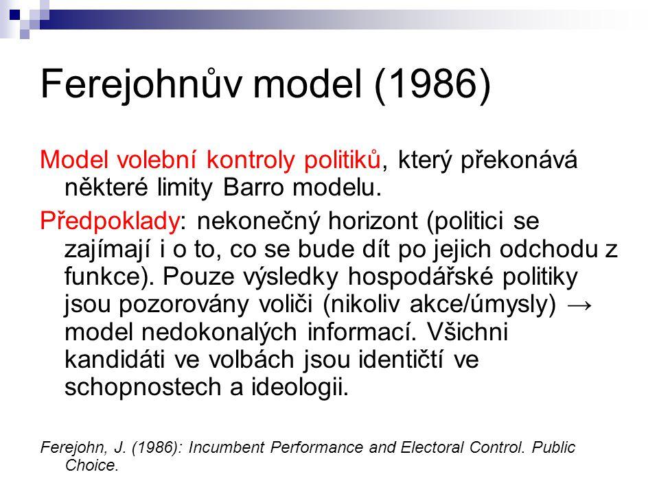Ferejohnův model (1986) Model volební kontroly politiků, který překonává některé limity Barro modelu. Předpoklady: nekonečný horizont (politici se zaj