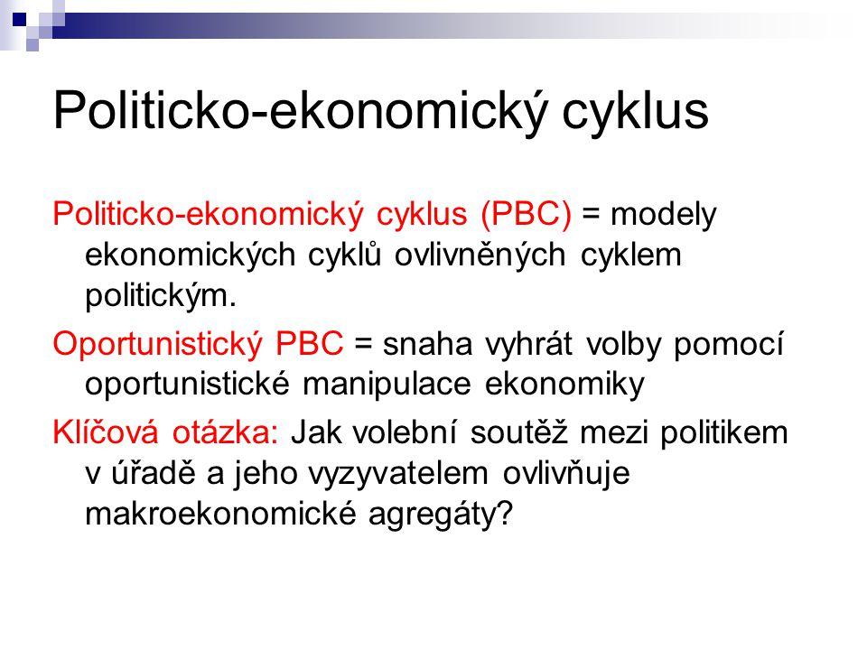 Politicko-ekonomický cyklus Politicko-ekonomický cyklus (PBC) = modely ekonomických cyklů ovlivněných cyklem politickým. Oportunistický PBC = snaha vy