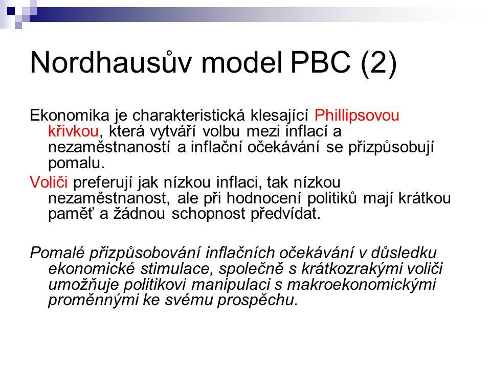 Nordhausův model PBC (2) Ekonomika je charakteristická klesající Phillipsovou křivkou, která vytváří volbu mezi inflací a nezaměstnaností a inflační o