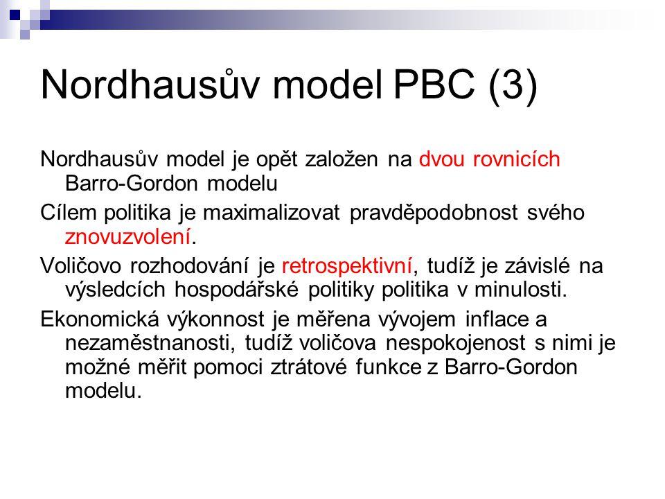 Nordhausův model PBC (3) Nordhausův model je opět založen na dvou rovnicích Barro-Gordon modelu Cílem politika je maximalizovat pravděpodobnost svého