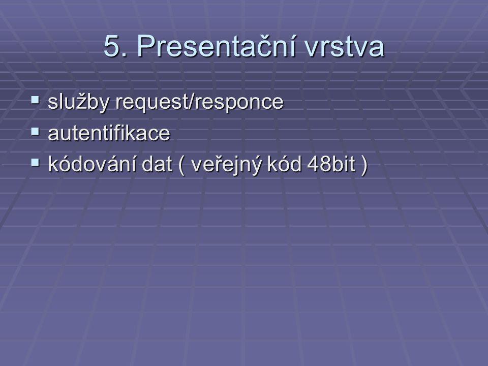 5. Presentační vrstva  služby request/responce  autentifikace  kódování dat ( veřejný kód 48bit )