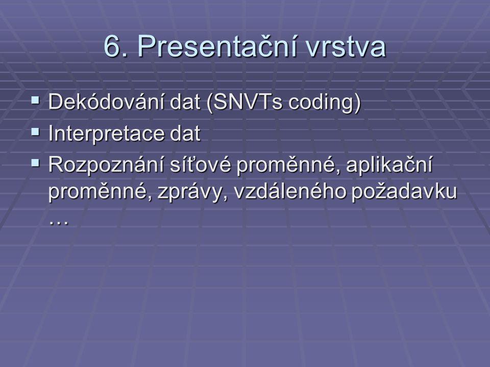 6. Presentační vrstva  Dekódování dat (SNVTs coding)  Interpretace dat  Rozpoznání síťové proměnné, aplikační proměnné, zprávy, vzdáleného požadavk