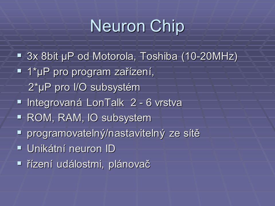 Neuron Chip  3x 8bit μP od Motorola, Toshiba (10-20MHz)  1*μP pro program zařízení, 2*μP pro I/O subsystém 2*μP pro I/O subsystém  Integrovaná LonTalk 2 - 6 vrstva  ROM, RAM, IO subsystem  programovatelný/nastavitelný ze sítě  Unikátní neuron ID  řízení událostmi, plánovač
