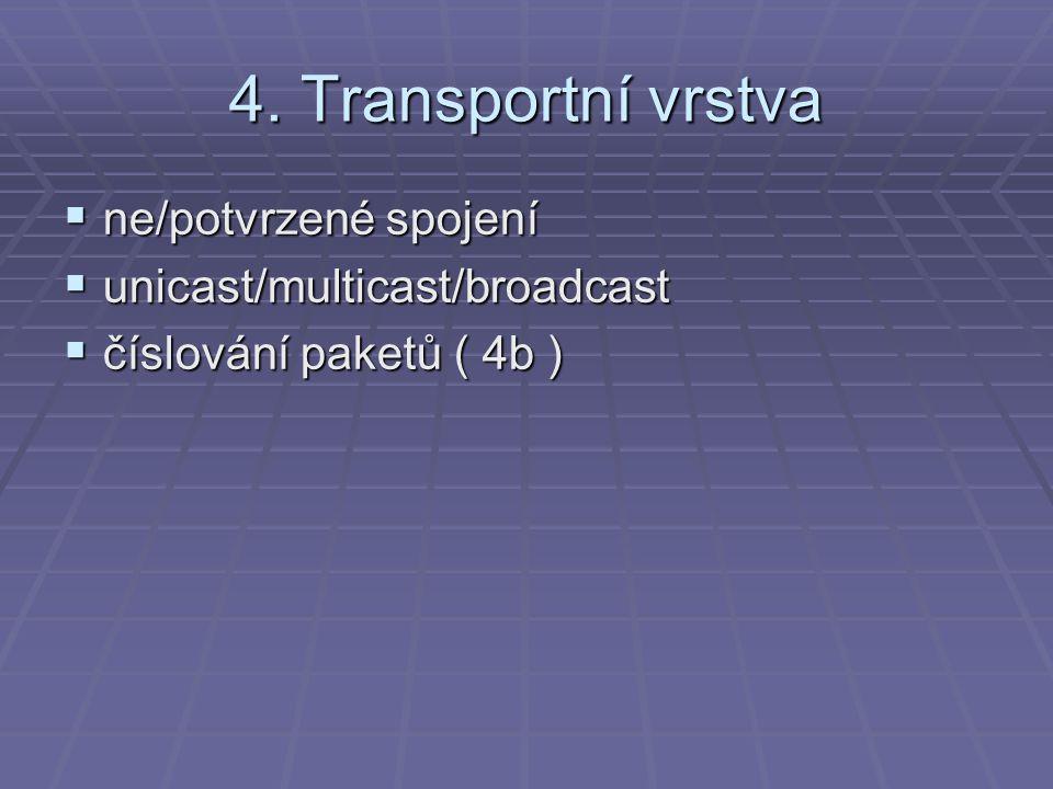 4. Transportní vrstva  ne/potvrzené spojení  unicast/multicast/broadcast  číslování paketů ( 4b )