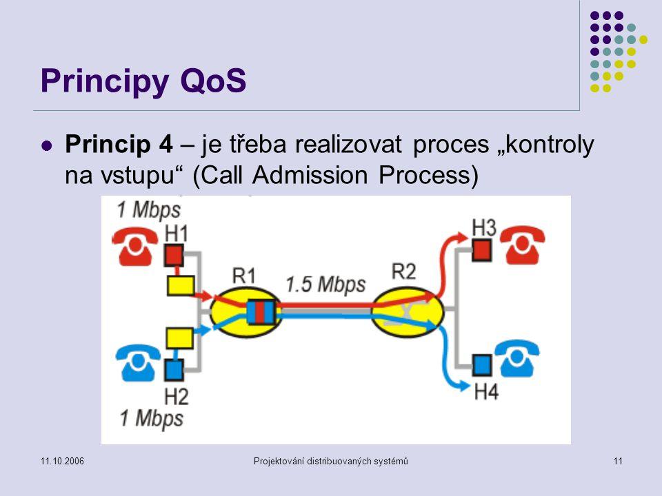 """11.10.2006Projektování distribuovaných systémů11 Principy QoS Princip 4 – je třeba realizovat proces """"kontroly na vstupu (Call Admission Process)"""
