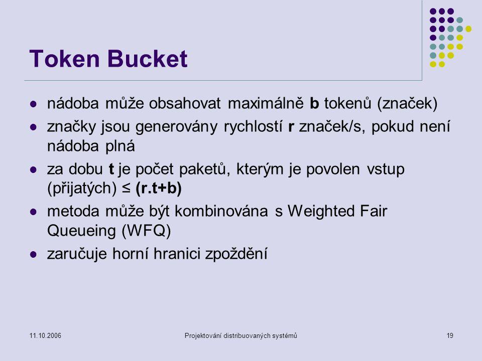 11.10.2006Projektování distribuovaných systémů19 Token Bucket nádoba může obsahovat maximálně b tokenů (značek) značky jsou generovány rychlostí r značek/s, pokud není nádoba plná za dobu t je počet paketů, kterým je povolen vstup (přijatých) ≤ (r.t+b) metoda může být kombinována s Weighted Fair Queueing (WFQ) zaručuje horní hranici zpoždění