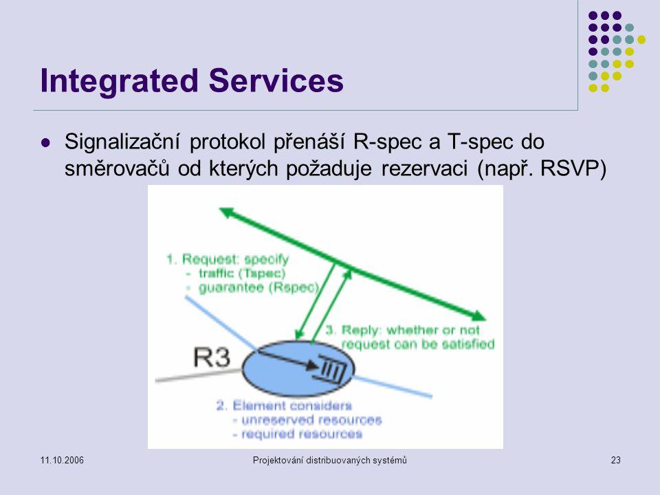 11.10.2006Projektování distribuovaných systémů23 Integrated Services Signalizační protokol přenáší R-spec a T-spec do směrovačů od kterých požaduje rezervaci (např.