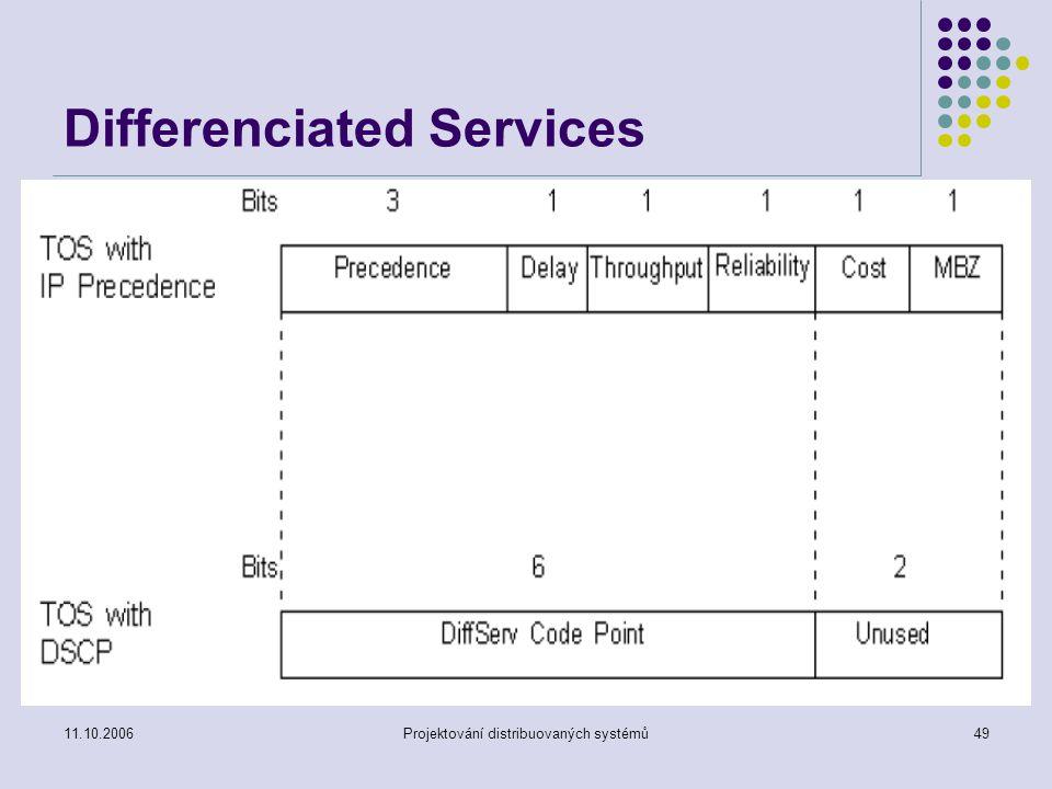 11.10.2006Projektování distribuovaných systémů49 Differenciated Services