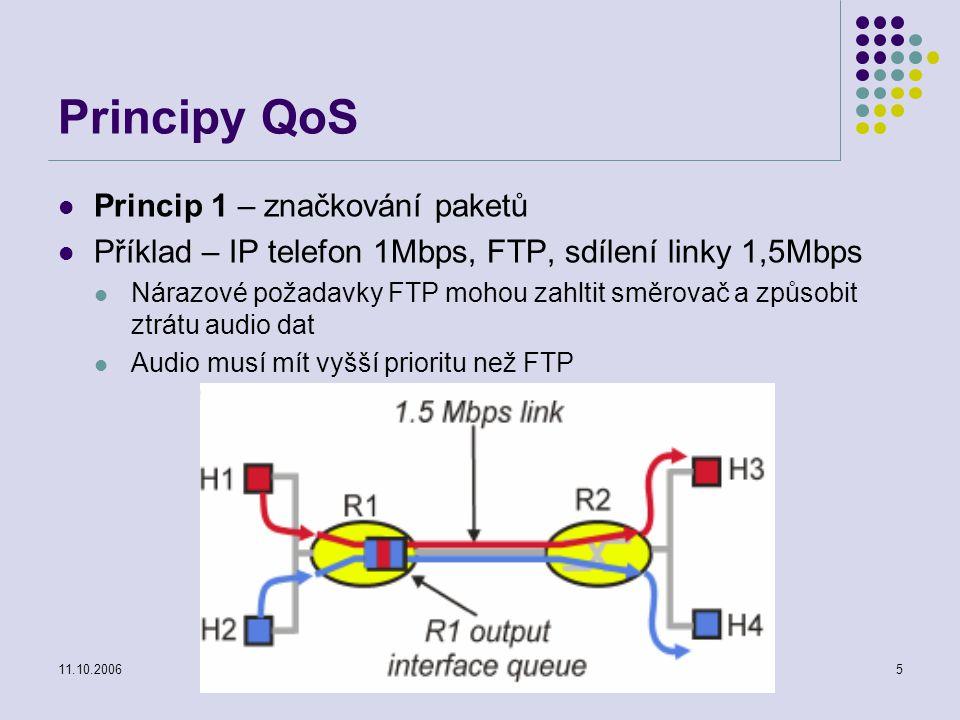 11.10.2006Projektování distribuovaných systémů5 Principy QoS Princip 1 – značkování paketů Příklad – IP telefon 1Mbps, FTP, sdílení linky 1,5Mbps Nárazové požadavky FTP mohou zahltit směrovač a způsobit ztrátu audio dat Audio musí mít vyšší prioritu než FTP