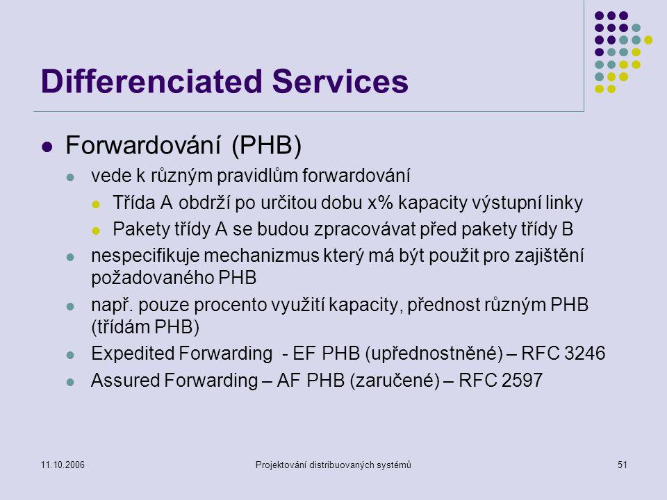 11.10.2006Projektování distribuovaných systémů51 Differenciated Services Forwardování (PHB) vede k různým pravidlům forwardování Třída A obdrží po určitou dobu x% kapacity výstupní linky Pakety třídy A se budou zpracovávat před pakety třídy B nespecifikuje mechanizmus který má být použit pro zajištění požadovaného PHB např.