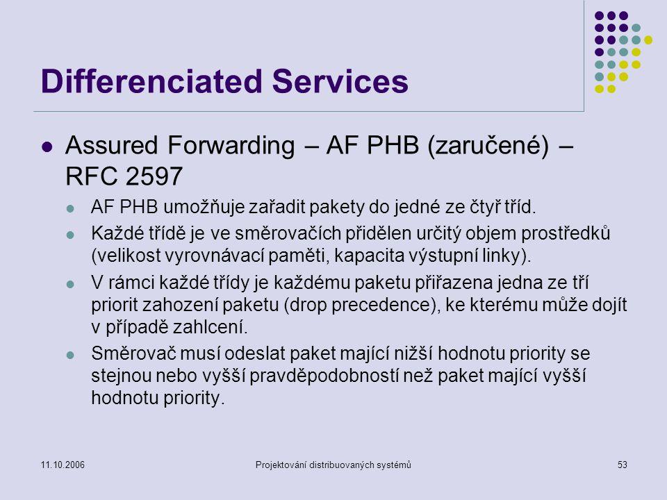 11.10.2006Projektování distribuovaných systémů53 Differenciated Services Assured Forwarding – AF PHB (zaručené) – RFC 2597 AF PHB umožňuje zařadit pakety do jedné ze čtyř tříd.